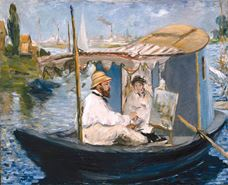 Show Claude Monet in His Studio Boat, 1874 details
