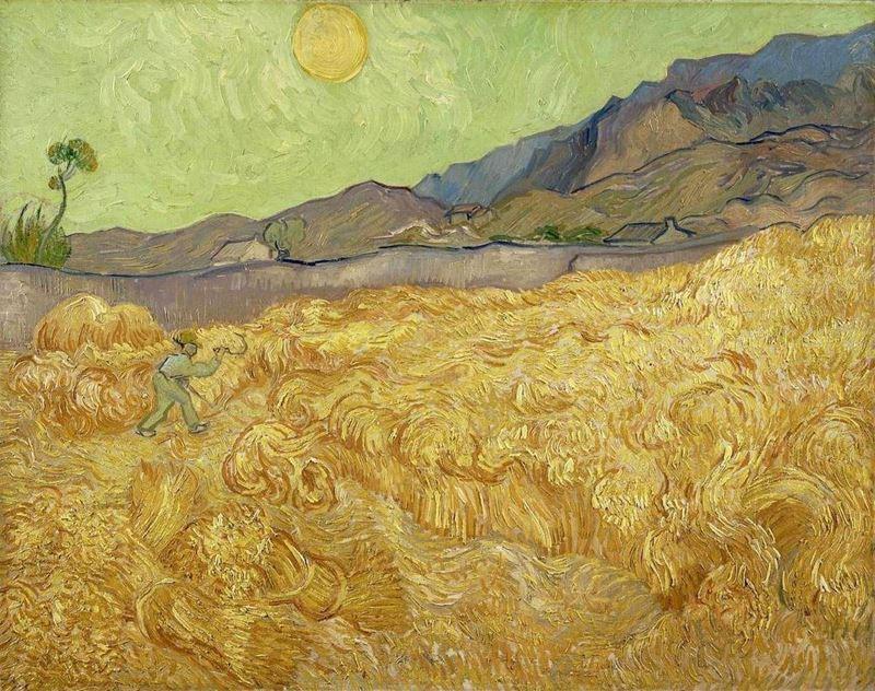Buğday Tarlasında Ekin Biçen, 1889 resmi