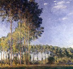 Epte Kıyılarında Kavaklar, 1891, Tuval üzerine yağlıboya, 88 x 93 cm, Özel koleksiyon.