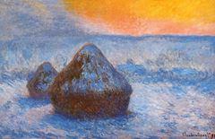 Saman Balyaları, Kar Etkisi, Günbatımı, 1890-1891, Tuval üzerine yağlıboya, 65.3 x 100.4 cm, The Art Institute of Chicago, Chicago, ABD.