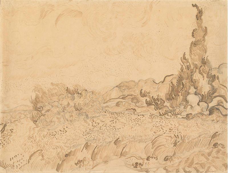 Buğday Tarlası ve Selviler, 1889 resmi