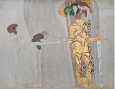 Show Beethoven Frieze: The Yearning for Happiness, The Well-Armed Strong (Long wall, Panel 3), 1901 details
