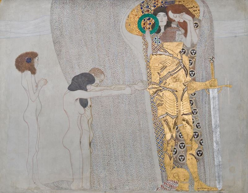 Picture for Beethoven Frieze: The Yearning for Happiness, The Well-Armed Strong (Long wall, Panel 3), 1901