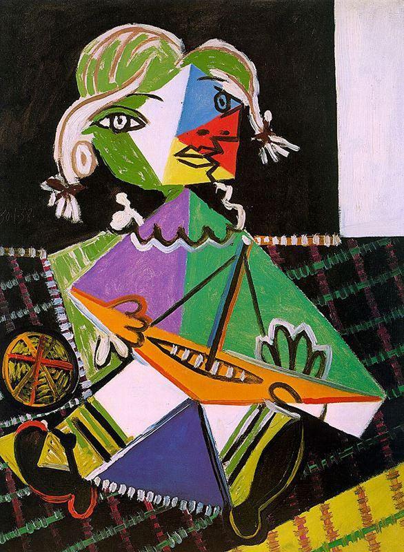 Oyuncak Kayıkla Kız (Maya Picasso), 1938 resmi