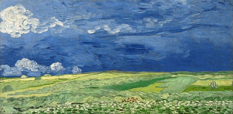 Fırtınalı Gökyüzü Altında Buğday Tarlası, 1890 resmi
