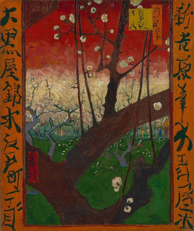 Çiçek Açmış Erik Ağacı (Hiroshige'den esinle), 1887 resmi