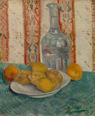 Show Still-Life with Decanter and Lemons on a Plate, 1887  details