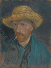 Show Self-Portrait with Straw Hat and Pipe, 1887 details