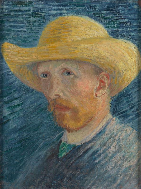 Hasır Şapkalı Otoportre, 1887 resmi