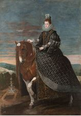 Show Queen Margarita on Horseback, c.1635 details