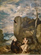 Show Saint Anthony Abbot and Saint Paul the Hermit, c.1634 details