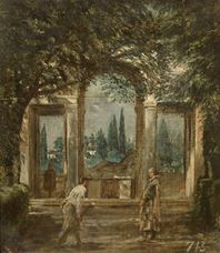 Show View of the Gardens of the Villa Medici, Rome, c.1630 details