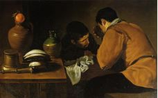 Show Two Young Men Eating At A Humble Table, c.1622 details