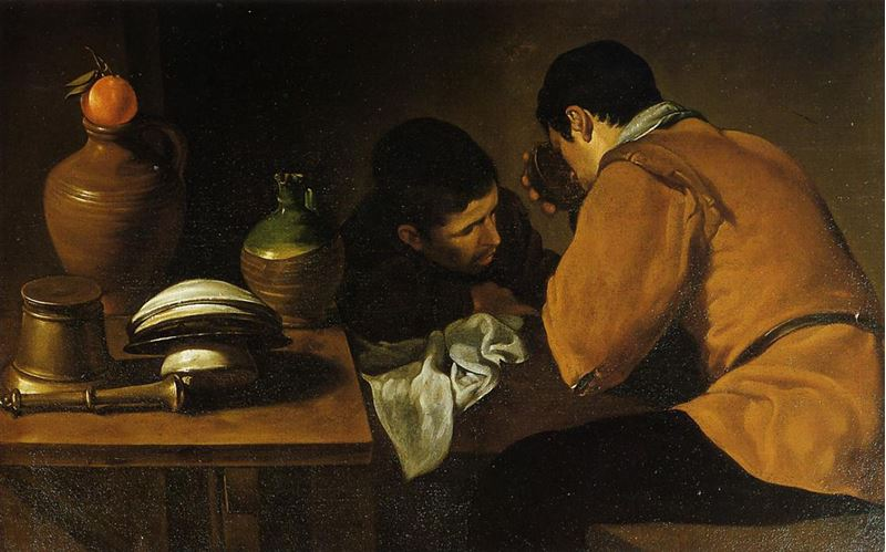 Masada Yemek Yiyen İki Genç Adam, 1622 dolayları resmi