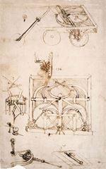 Otomobil, 1478-1480, Kâğıt üzerine kalem ve fırça, 27 x 20, Biblioteca Ambrosiana, Milan, İtalya.