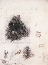 Show Studies for the Virgin and Child with St Anne and the infant Baptist, c. 1505-1508 details