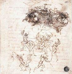 Anghiari Savaşı için taslak, 1503-1504, Kalem ve mürekkep, 160 x 152 mm, Gallerie dell'Accademia, Venice, İtalya.