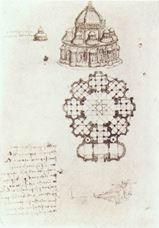 Merkezi planlı kilise görünüm ve planı, 1488 dolayları