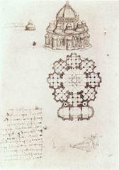 Merkezi planlı kilise görünüm ve planı, 1488 dolayları, Siyah tebeşir üzerinden kalem ve mürekkep, 240 x 190 mm, Bibliothèque de l'Institut de France, Paris, Fransa.