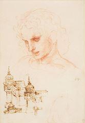 Son Akşam Yemeği için çalışma, Havari Yakup'un başı ve mimari eskizler, 1495 dolayları, Kırmızı tebeşir, kalem,mürekkep, 25.2 x 17.2 cm, Royal Collection, Windsor Castle, İngiltere.