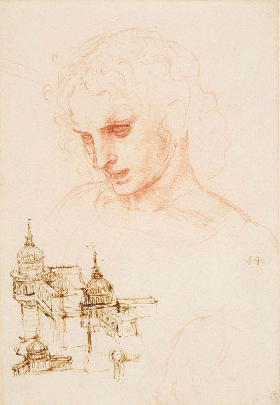 Picture for The head of St James in the Last Supper, and architectural sketches, c. 1495
