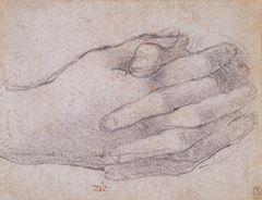 Son Akşam Yemeği için çalışma, Havari Yuhanna'nın elleri, 1495 dolayları, Siyah tebeşir, Royal Collection, Windsor Castle, İngiltere.