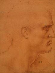 Son Akşam Yemeği için çalışma, Havari Bartolomeus'un başı (?), 1495 dolayları, Açık renk kırmızı kağıda kırmızı tebeşir, Royal Collection, Windsor Castle, İngiltere.