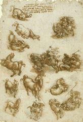 Atlar, Bir Ejderha ve Ermiş George'un Ejderhayla Çarpışması Üzerine Çalışma, 1517-1518 dolayları, Kalem ve mürekkep, 298 x 212 mm, Royal Collection, Windsor Castle, İngiltere.