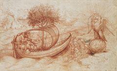 Kurt ve Kartallı Alegori, 1516 dolayları, Kırmızı tebeşir, 170 x 280 mm, Royal Collection, Windsor Castle, İngiltere.