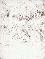 Müneccim Kralların Tapınması için taslak, 1481