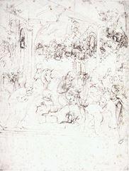 Müneccim Kralların Tapınması için düzenleme taslağı, 1481, Kalem ve mürekkep, 28.4 x 21.3 cm, Musée du Louvre, Paris, Fransa.