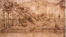 Müneccim Kralların Tapınması için arka planın perspektif çalışması, 1481 dolayları