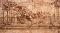 Müneccim Kralların Tapınması için arka planın perspektif eskizi, 1481 dolayları, Kalem, kahverengi mürekkep, 16.5 x 29 cm, Uffizi Gallery, Florence, İtalya.