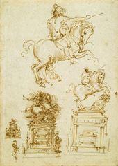 Trivulzio Anıtı için çalışmalar, 1508-1510 dolayları, Kalem ve mürekkep; 280 x 198 mm, Royal Collection, Windsor Castle, İngiltere.