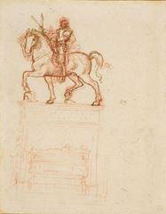 Trivulzio Anıtı için çalışma, 1508-1510 dolayları, Kalem ve mürekkep, kırmızı tebeşir, 217 x 169 mm, Royal Collection, Windsor Castle, İngiltere.