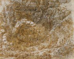 Tufan eskizi, 1517-1518 dolayları, Kalem ve mürekkep, 162 x 203 mm, Royal Collection, Windsor Castle, İngiltere.