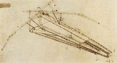 Uçma Makinesi, 1485 dolayları, Kalem ve mürekkep, 230 x 160 mm, Bibliothèque de l'Institut de France, Paris, Fransa.
