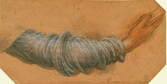 Meryem için kol çalışması, 1508-1510 dolayları, Açık renk kırmızı kağıda siyah ve kırmızı tebeşir, kalem ve mürekkep, Royal Collection, Windsor Castle, İngiltere.
