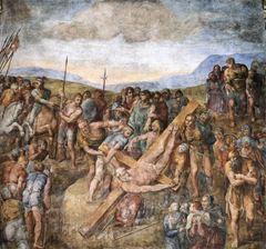 Petrus'un Çarmıha Gerilişi, 1545-1550 yılları, Fresk, 625 x 662 cm, Cappella Paolina, Rome, İtalya.
