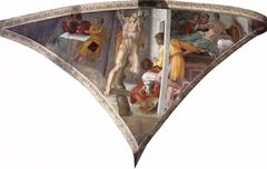 Haman'ın Cezalandırılması, Sistine Şapeli tavanından ayrıntı.