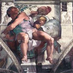 Yunus Peygamber, Sistine Şapeli tavanından ayrıntı.