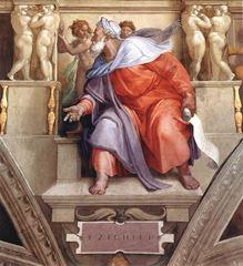 Hezekiel Peygamber, Sistine Şapeli tavanından ayrıntı.