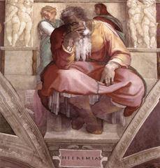 Yeremya Peygamber, Sistine Şapeli tavanından ayrıntı.