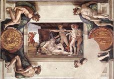 Nuh'un Sarhoşluğu, Sistine Şapeli tavanından ayrıntı.
