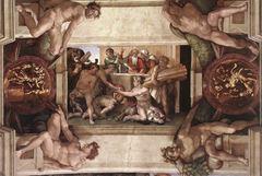 Nuh'un Kurbanı, Sistine Şapeli tavanından ayrıntı.