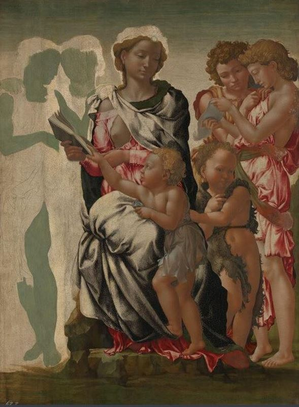 Meryem, Çocuk İsa, Vaftizci Yahya ve Melekler (Manchester Madonnası), 1497 dolayları resmi