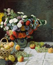 Show Still Life with Flowers and Fruit, 1869 details