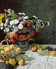 Çiçekli ve Meyveli Natürmort, 1869, Tuval üzerine yağlıboya, 100.3 x 81.3 cm, The J. Paul Getty Museum, Los Angeles, ABD.