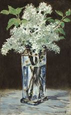 Show White Lilacs in a Crystal Vase, 1882-1883 details