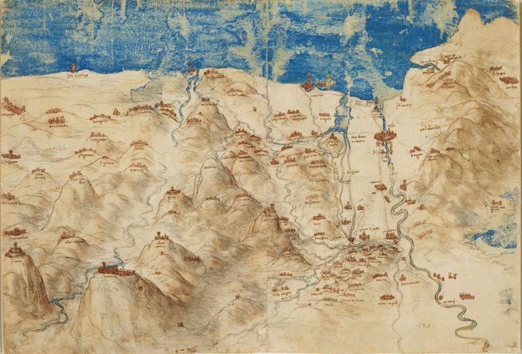 Batı Toskana'nın kuşbakışı haritası, 1503-1504 dolayları picture